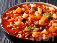 Рецепта Паста макарони с боб, домати, целина и чесън